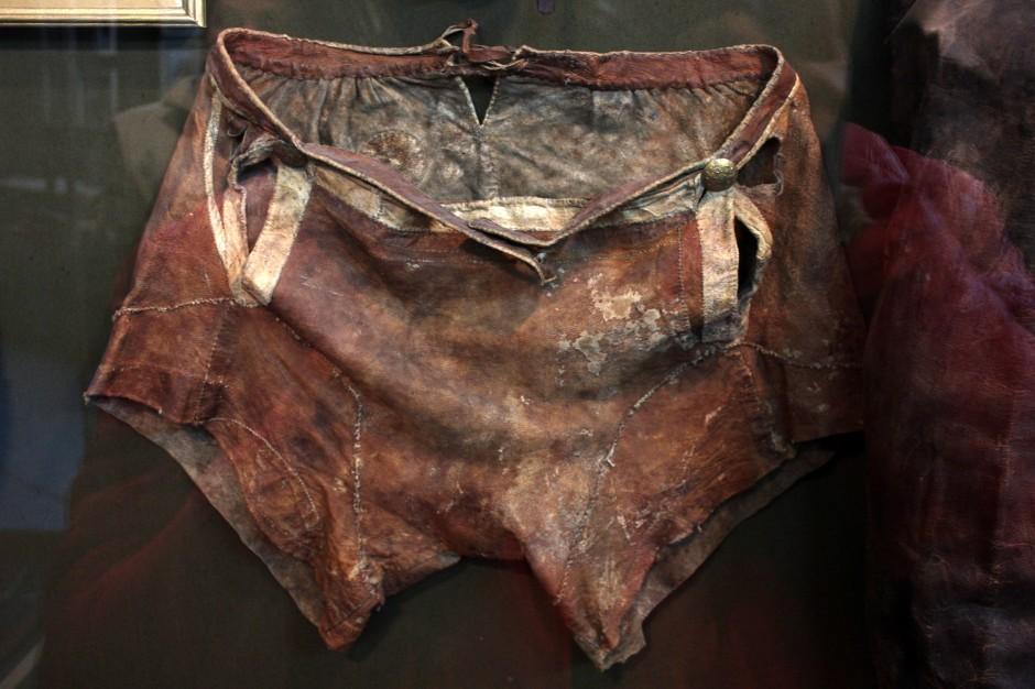 Reindeer skin underwear at Sami museum in Lovozero