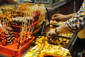 Fishball on sticks, a popular HK snack