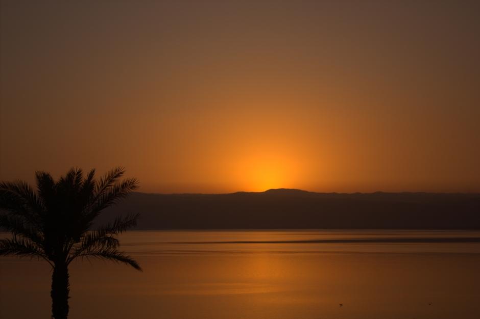 Sun set over the world's saltiest lake