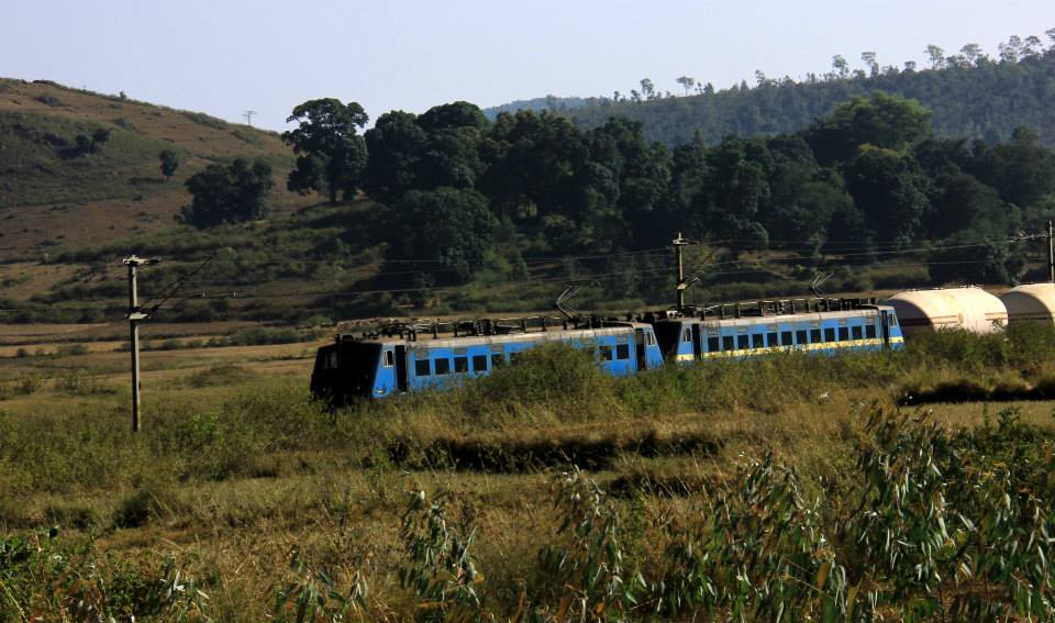 A train chugged by through the silent ghats