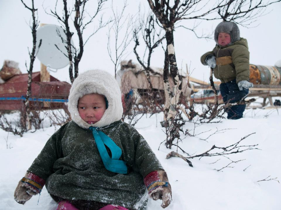 Nenet children at Arctic Russia